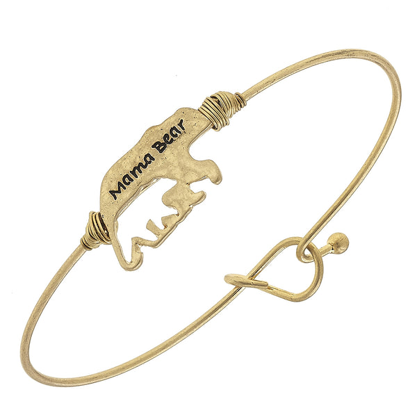 """Mama Bear"" Cut Out Cub Latch Bracelet in Worn Gold by Crave"