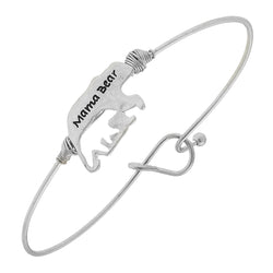 """Mama Bear"" Cut Out Cub Latch Bracelet in Worn Silver by Crave"
