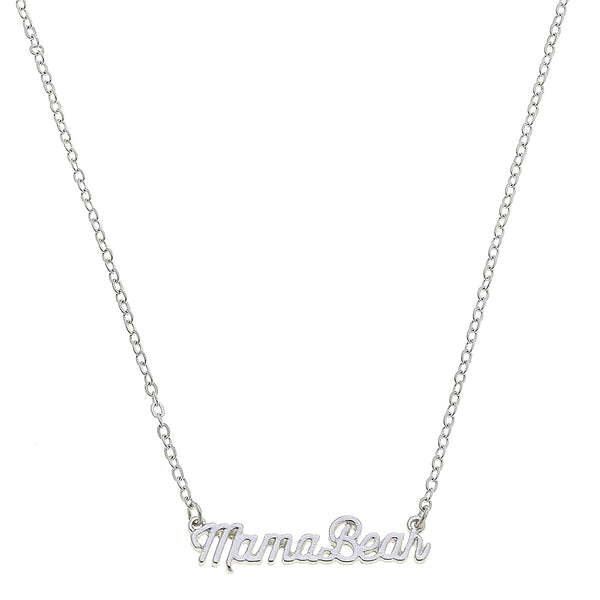 """Mama Bear"" Script Necklace in Worn Silver by Crave"