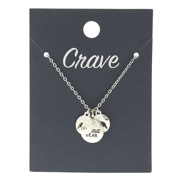 """Mama Bear"" Charm Necklace in Worn Silver by Crave"