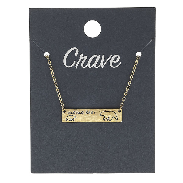 """Mama Bear"" Necklace in Worn Gold by Crave"