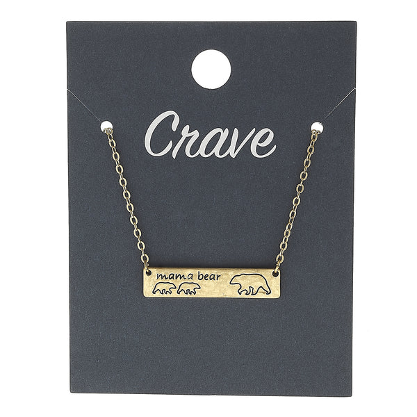 """Mama Bear"" Two Cub Bar Necklace in Worn Gold by Crave"