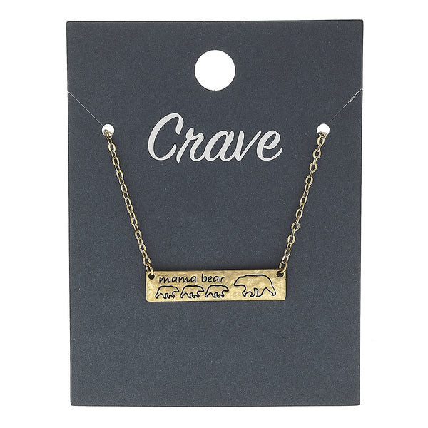 """Mama Bear"" Three Cub Bar Necklace in Worn Gold by Crave"