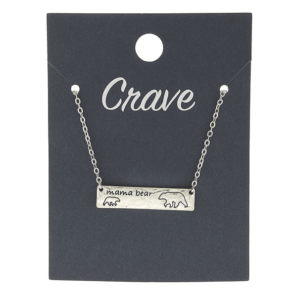"""Mama Bear"" Necklace in Worn Silver by Crave"