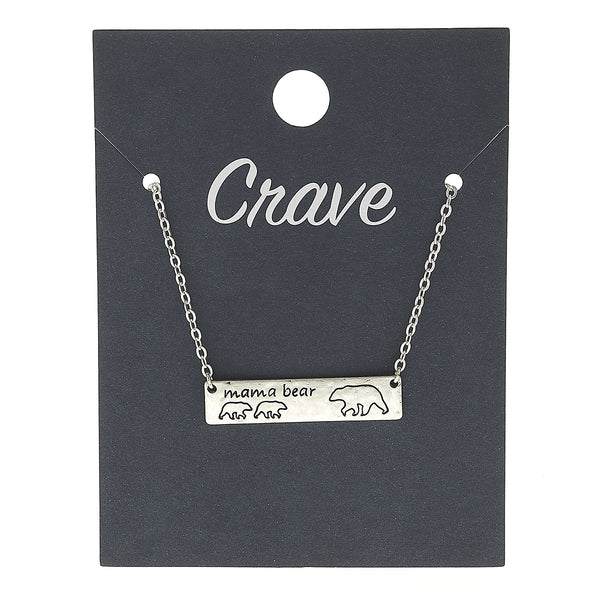 """Mama Bear"" Two Cub Bar Necklace in Worn Silver by Crave"