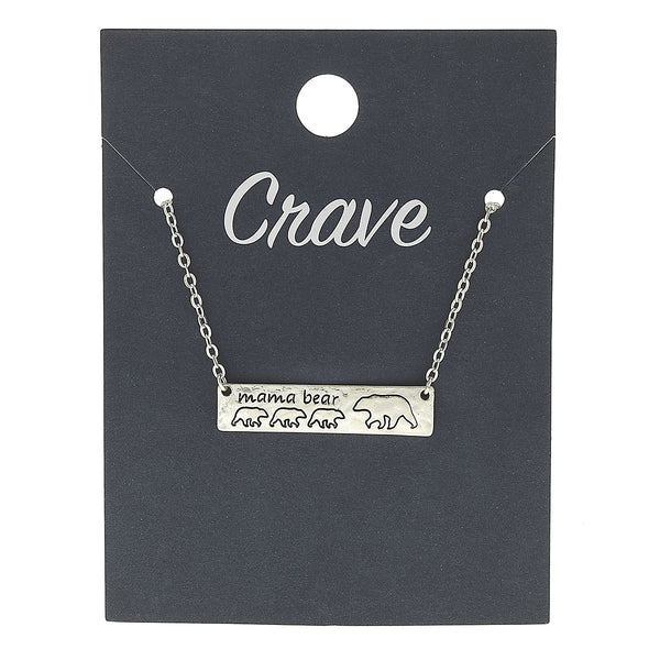 """Mama Bear"" Three Cub Bar Necklace in Worn Silver by Crave"