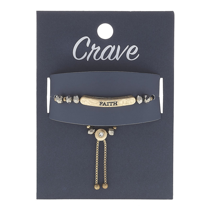 """Faith"" Hemitite Glass Beads Stretch Bolo Bracelet in Worn Gold by Crave"