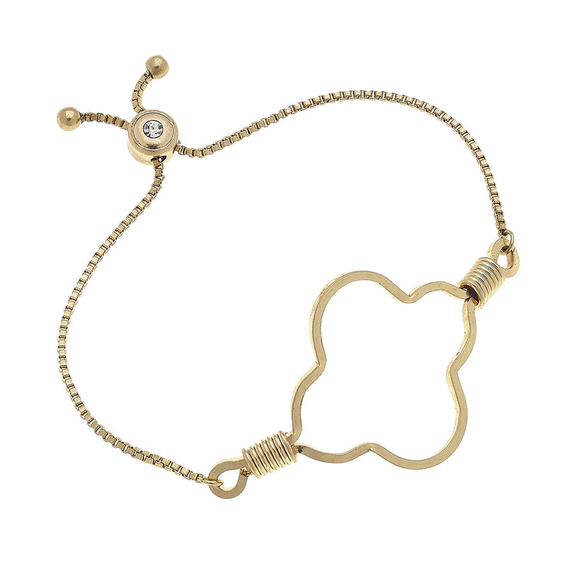 Wired Wrap Quatrefoil Bolo Bracelet in Worn Gold by Crave