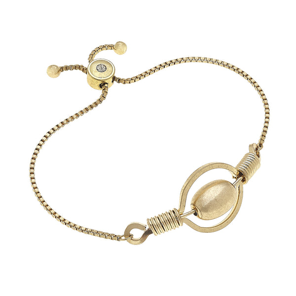 18617B-WG Wired Wrap Circle And Ball Adjustable Bolo Bracelet in Worn Gold by Crave