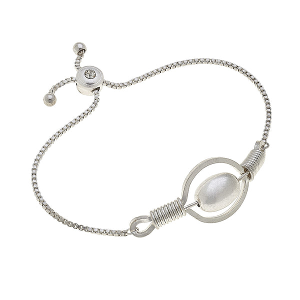 Wired Wrap Circle Ball Bolo Bracelet in Worn Silver by Crave
