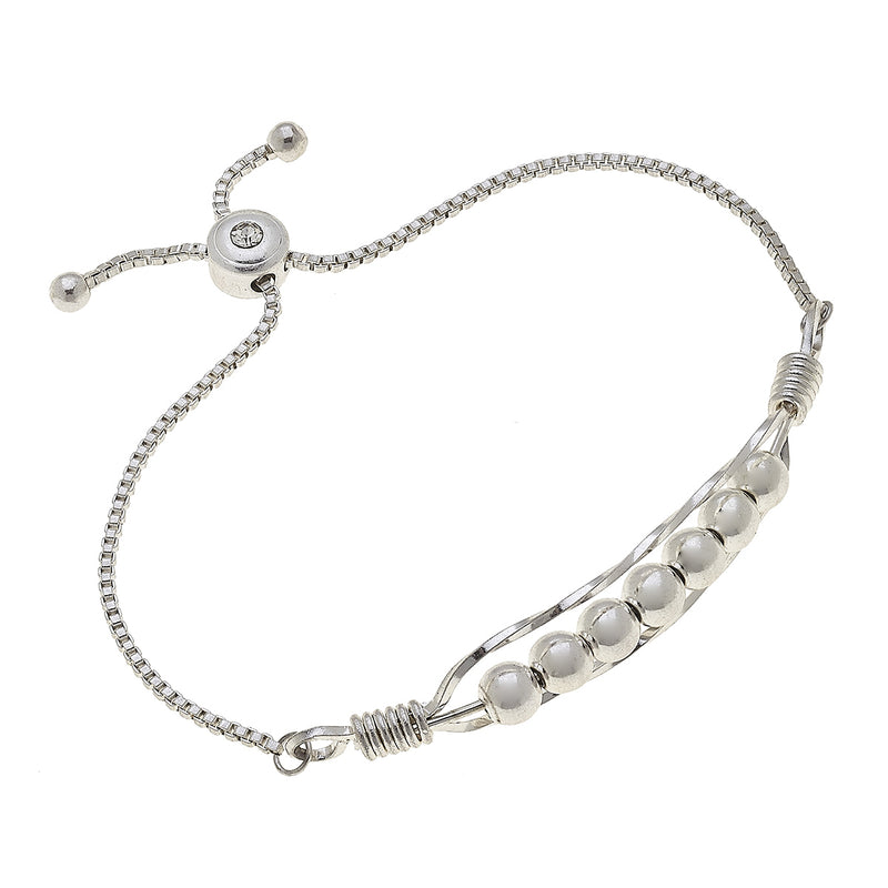 Wired Wrap Beads Bolo Bracelet in Worn Silver by Crave