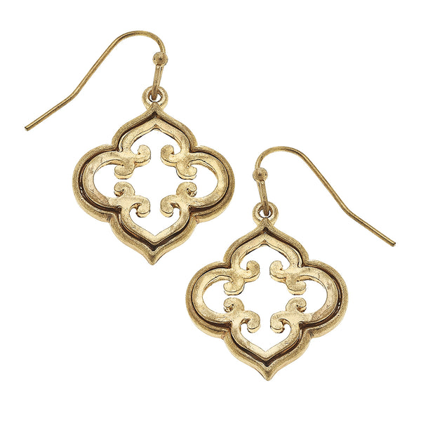18620E-WG Quatrefoil Drop Earring in Worn Gold by Crave