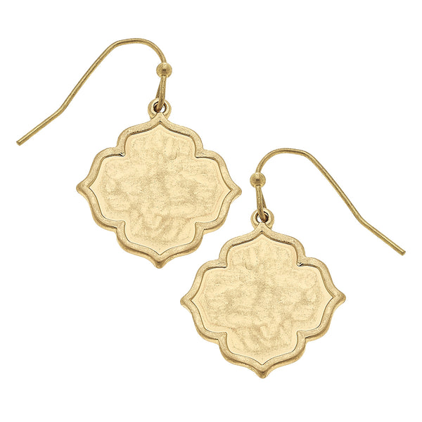 Solid Quatrefoil Drop Earring in Worn Gold by Crave