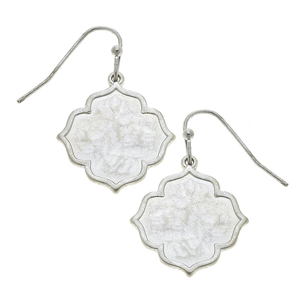 Solid Quatrefoil Drop Earring in Worn Silver by Crave