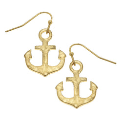 Anchor Drop Earring in Worn Gold by Crave