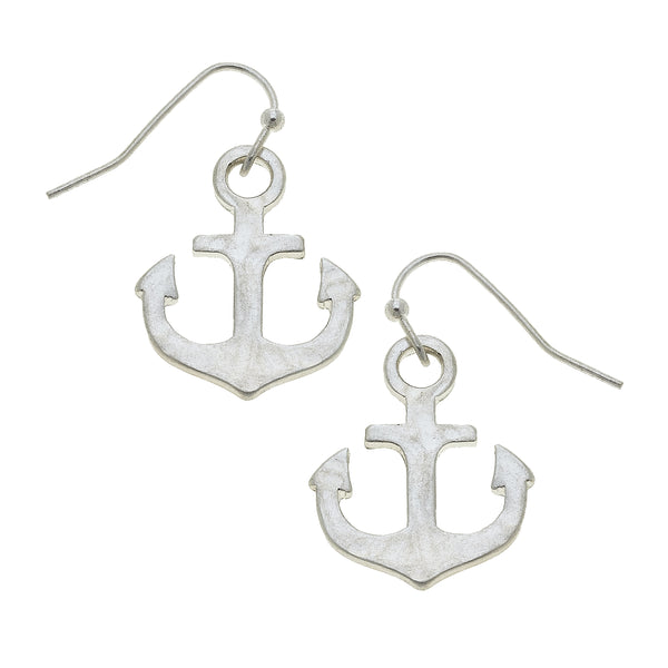 Anchor Drop Earring in Worn Silver by Crave