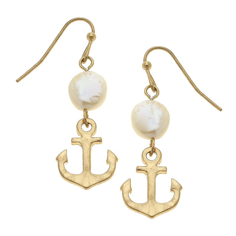 18626E-WG Anchor Coin Pearl Drop Earring by Crave