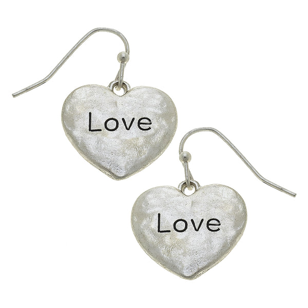 "Heart Etched ""Love"" Drop Earring in Worn Silver by Crave"