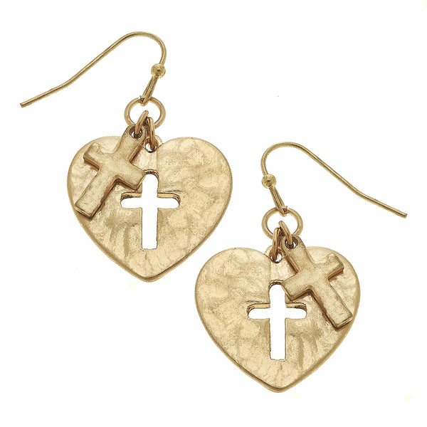 Heart Cut Out Cross Drop Earring in Worn Gold by Crave