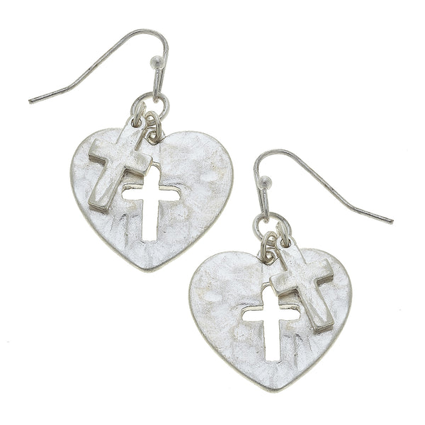 Heart Cut Out Cross Drop Earring in Worn Silver by Crave