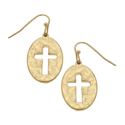 Heart with Cut Out Cross Drop Earring in Worn Gold by Crave