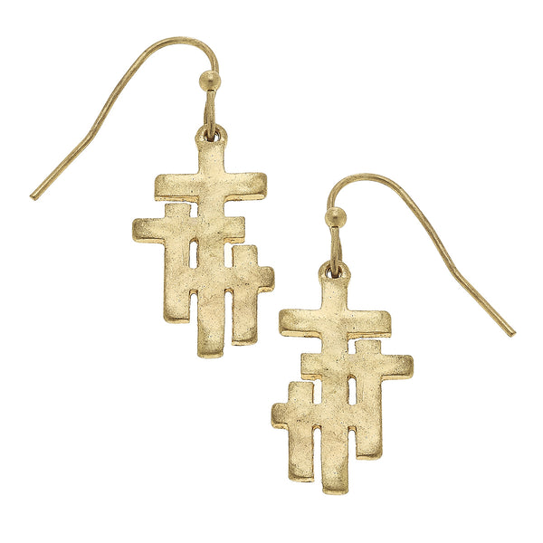Calvary Cross Earring in Worn Gold by Crave