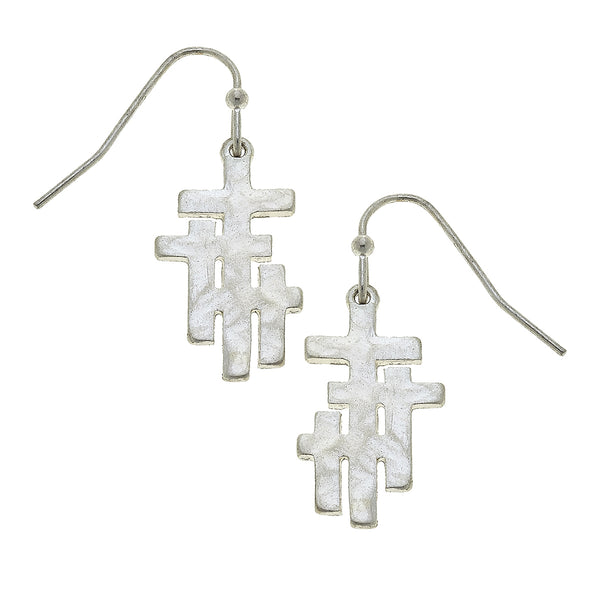 Calvary Cross Drop Drop Earring in Worn Silver by Crave