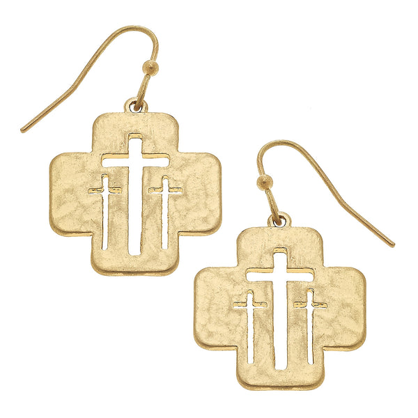 Cut Out Calvary Cross Drop Earring in Worn Gold by Crave