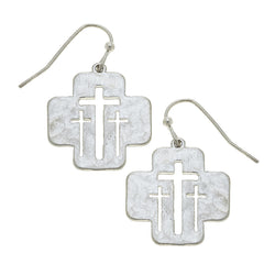 Cut Out Calvary Cross Drop Earring in Worn Silver by Crave
