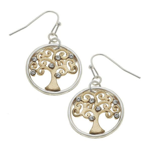 Tree of Life Drop Earring in Two-Tone by Crave