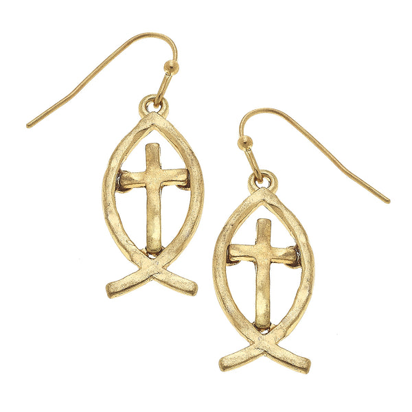 Christian Fish Cross Drop Earring in Worn Gold by Crave