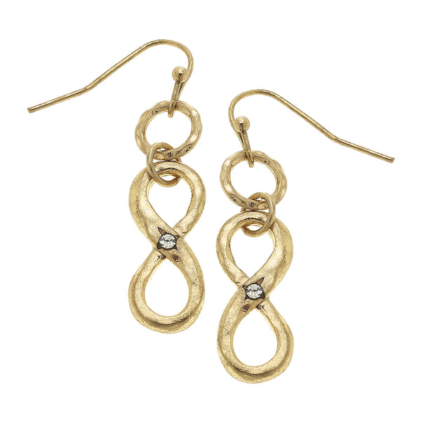 Infinity Drop Earring in Worn Gold by Crave