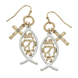 Christian Fish Jesus Drop Earring in Two-Tone by Crave