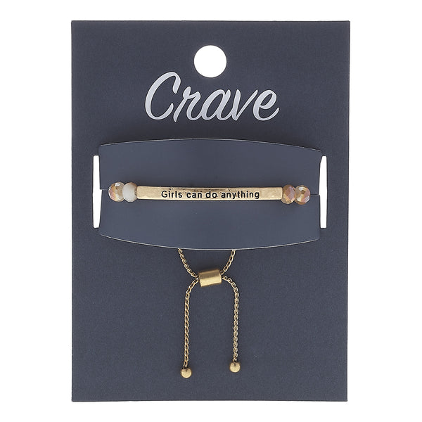"""Girls Can Do Anything"" Glass Bolo Bracelet in Worn Gold by Crave"