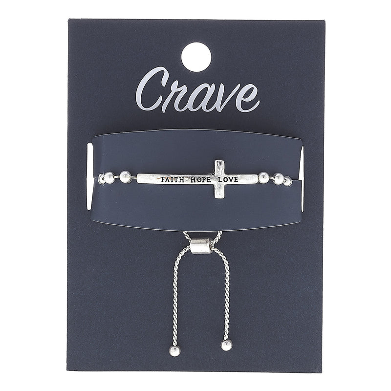"18669B-WS  ""Faith Hope Love"" Bolo Bracelet in Worn Silver by Crave"