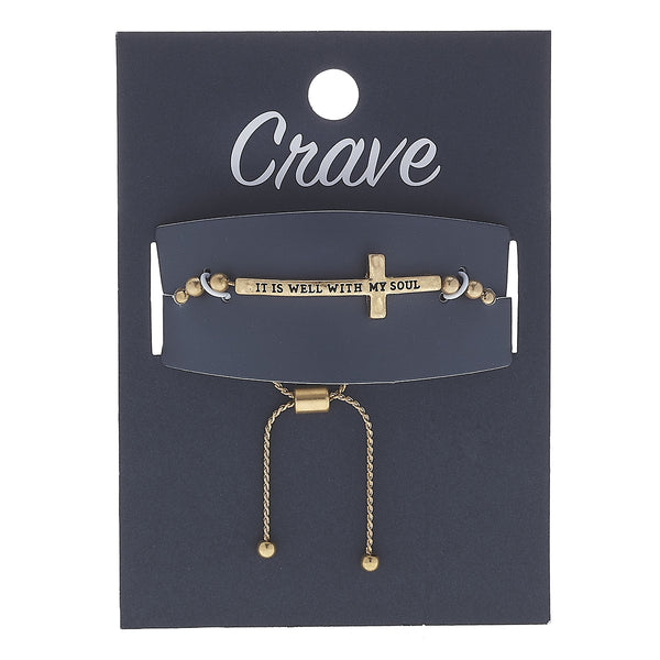 """It Is Well With My Soul"" Cross Bolo Bracelet in Worn Gold by Crave"