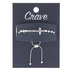"""It Is Well With My Soul"" Cross Bolo Bracelet in Worn Silver by Crave"
