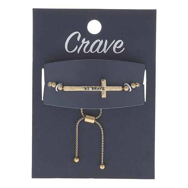 """Be Brave"" Cross Bolo Bracelet in Worn Silver by Crave"