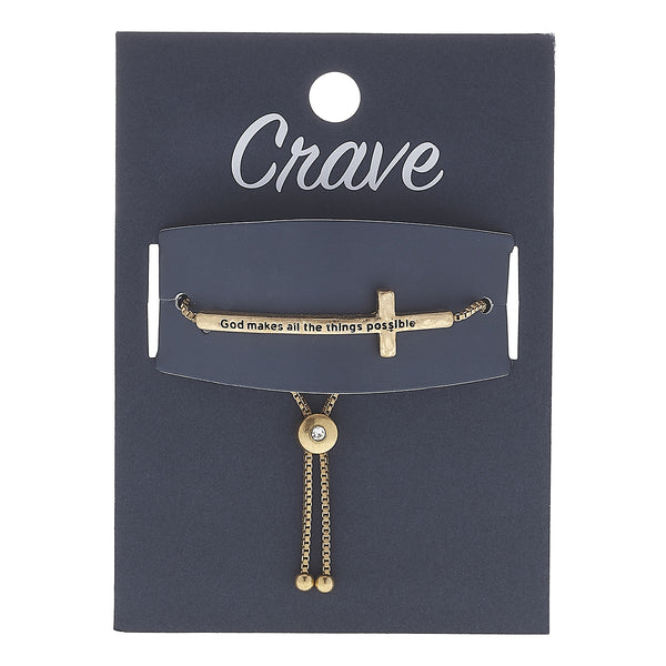 """God Makes All Thing Possible"" Cross Bracelet in Worn Gold by Crave"
