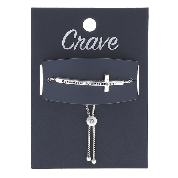 """God Makes All Thing Possible"" Cross Bracelet in Worn Silver by Crave"