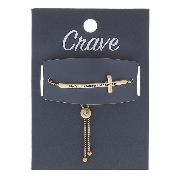 """My Faith Is Bigger Than My Fear"" Cross Bolo Bracelet in Worn Gold by Crave"