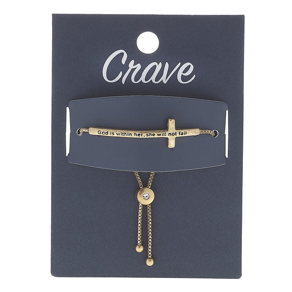 """God Is Within Her, She Will Not Fail"" Cross Bracelet in Worn Gold by Crave"
