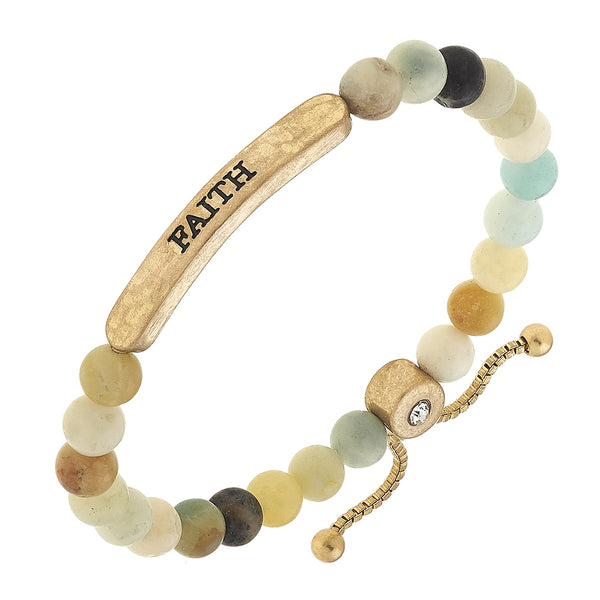 """Faith"" Amazonite Bolo Bracelet in Worn Gold by Crave"