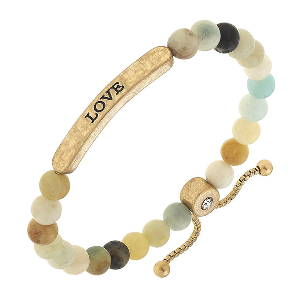 """Love"" Amazonite Stretch Bolo Bracelet by Crave"