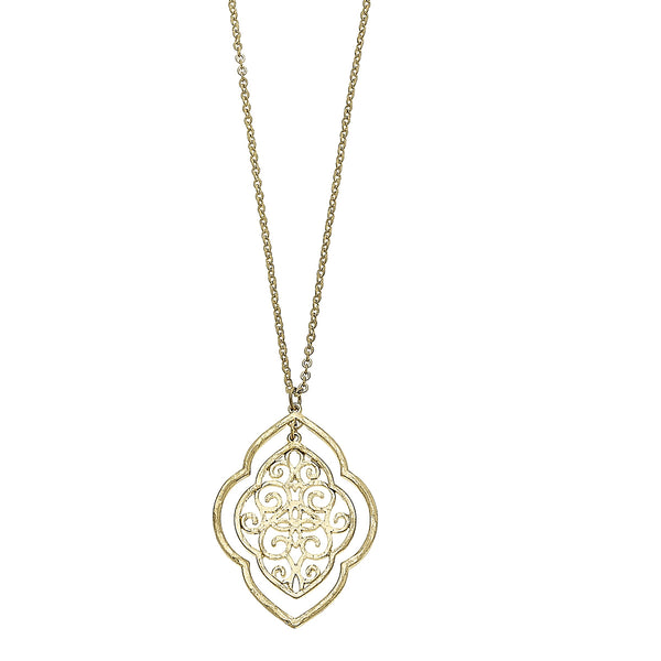 Nested Moroccan Filigree Pendant Necklace in Worn Gold by Crave