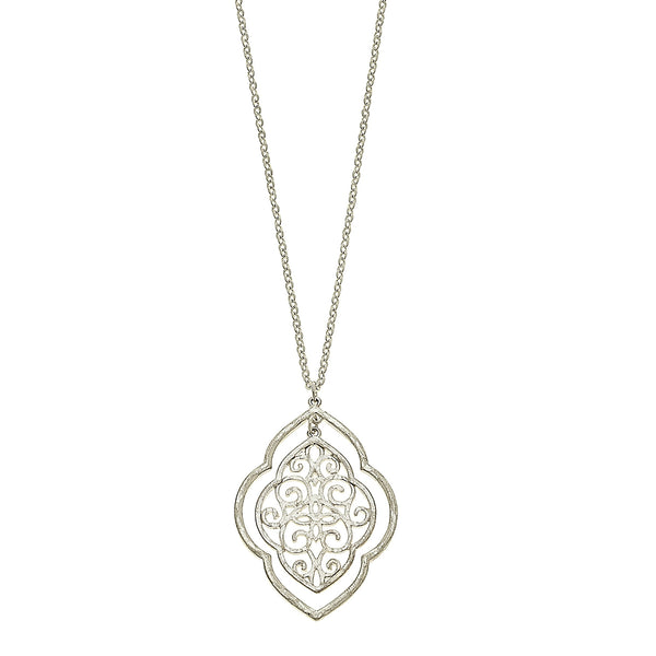 Nested Moroccan Filigree Pendant Necklace in Worn Silver by Crave