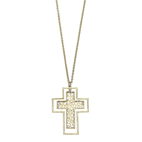 Nested Cross Filigree Pendant Necklace in Worn Gold by Crave