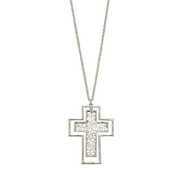 Nested Cross Filigree Pendant Necklace in Worn Silver by Crave