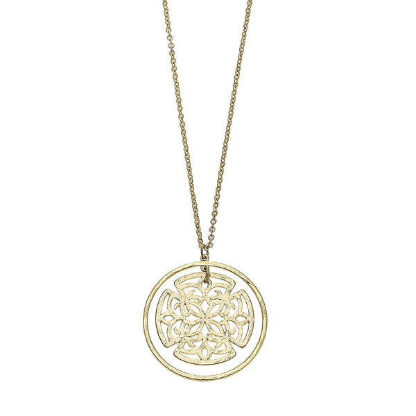 Nested Circle Filigree Pendant Necklace in Worn Gold by Crave