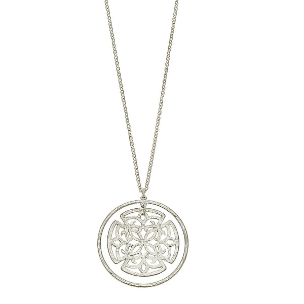 Nested Circle Filigree Pendant Necklace in Worn Silver by Crave